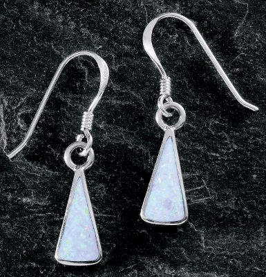 Entertainment These beautiful triangular opal earrings are inlaid with man-made opal, which is more durable and consistent in color than natural opal. Sterling-silver shepherds hook ear wires. Made in USA. Dimensions: 5/8L x 1/4W. - $49.99