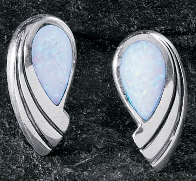 Entertainment Petite and pretty, these earrings are inlaid with man-made white opal, which is more durable and consistent in color than natural opal. Sterling-silver posts and hypoallergenic backs. Made in USA. Dimensions: 11/16L x 5/16W. - $69.99