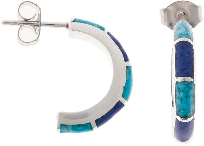 Entertainment You cant go wrong with a pair of hoops! This pair is inlaid with lapis and turquoise chips. Turquoise is believed to protect against evil and bring good fortune to those who wear it. Lapis is a navy blue man-made material. Sterling-silver posts and hypoallergenic backs. Made in USA. Dimensions: 5/8L x 1/8W. - $69.99