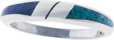 Entertainment Turquoise is believed to protect against evil and bring good fortune to those who wear it. This simplistic, sterling-silver ring has half of the upper band inlaid with turquoise chips and the other half inlaid with lapis chips, a navy blue man-made material. Great for him or her with a thinner, solid band. Made in USA. Dimensions: 1/8.Whole sizes: 4-10. - $49.99