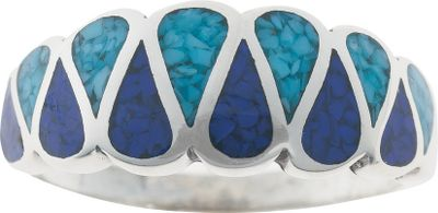 Entertainment This unique sterling silver ring from Silver Legends features an interlocking teardrop pattern inlaid with lapis and turquoise chips. Turquoise is believed to protect against evil and bring good fortune, and lapis is a beautiful navy blue, man-made material. A great ring for him or her. Made in USA. Dimensions: 7/8L x 3/8W.Whole sizes: 4-11. - $79.99
