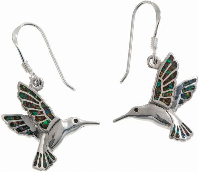 Entertainment These hummingbird earrings are beautifully inlaid with black resin and man-made opal, which is more durable and consistent in color than natural opal. This color contrast gives this piece a unique and pretty look. Sterling-silver shepherds hook ear wires. Made in USA. Dimensions: 3/4L x 5/8W. Color: Silver. Gender: Female. Age Group: Adult. Type: Earrings. - $79.99