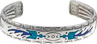 Entertainment This beautiful sterling-silver bracelet is inlaid with turquoise and lapis chips. Turquoise is believed to protect against evil and bring good fortune to those who wear it. Lapis is a navy blue man-made material. Made in USA.Dimensions: 6-3/4L x 1/2W. - $189.99
