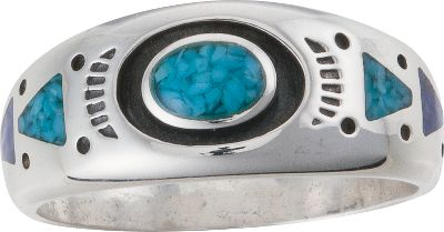 Entertainment Turquoise is believed to protect against evil and bring good fortune to those who wear it, and this classic design for her or him will go with nearly anything. Sterling-silver is inlaid with turquoise and lapis chips, a navy blue man-made material. Made in USA.Whole sizes: 5-15. - $99.99