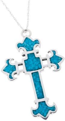 Entertainment Turquoise is believed to bring good luck and protect against evil. This gorgeous sterling-silver cross pendant features fleurs-de-lis at each tip with inlaid turquoise chips. It suspends from a sterling-silver chain. Made in USA. Pendant dimensions: 2-3/8L x 1-5/8W. Chain length: 18. Size: L. Color: Turquoise. Gender: Female. Age Group: Adult. - $199.99