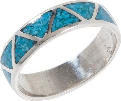 Entertainment Legend says turquoise protects the wearer from evil and brings good fortune. The classic unisex design of this ring inlaid with turquoise is handsome enough for him and yet pretty enough for her, and would make a nice matching set for any couple. Sterling silver. Made in USA. Dimensions: 1/4W. Whole sizes: 4-15. - $89.99