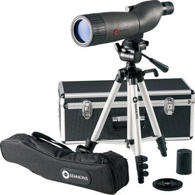 "Hunting Enjoy substantial savings on Simmons spotting scope. This advanced model is waterproof and fogproof and comes with a metal hard case and full-size 44"" tripod. It's equipped with BK7 porro prisms and fully coated, high-quality optics in a rugged housing wrapped in durable rubber armor. Images are bright and clear with excellent color reproduction and light-gathering ability. Great for scouting game, spotting targets at the shooting range, and observing birds and wildlife. - $69.88"