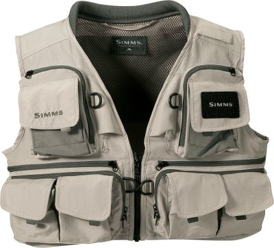 Flyfishing This classic guide vest has plenty of storage space; 16 pockets including four zippered internal pockets and two zippered back pockets. Comfortable nylon fabric with mesh interior and rib-knit collar. Buckle closure and built-in retractors. Imported.Chest sizes: M-2XL.Color: Khaki. - $109.88
