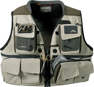 Flyfishing Advanced materials and design makes this a versatile streamside companion for the angler who wants to be prepared for many fishing situations. 19 pockets including four easy-loading, molded chest pockets; six bellows fabric pockets, and two zippered back pockets. Noncrushable, 3-D spacer knit collar will not retain water. Shoulders feature contoured space net allowing for air circulation and maximum comfort with a fully loaded vest. Two zippered back pockets, one two-way zipper split pocket and one bellows cargo pocket. Magnetic buckle/zipper closure and drawcord waist. Two retractors, rod holder, gink holder and fly patch. Imported. Chest sizes: M-2XL. Color: Khaki. Size: 2XL. Color: Khaki. Material: Knit. - $249.95