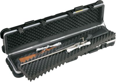 Molded of ultra-high molecular-weight polyethylene, the same material specified by the U.S. military, these combat- tested gun cases will protect your guns from whatever you can put them through. They even exceed ATA Specification 300, which sets a stringent standard for transport container design. The shell material is impervious to all solvents, oils, fuels and acids, as well as heat and cold. Molded-in bumpers and ribs absorb shock and vibration while adding rigidity and protecting the valance, latches, hinges and handle. A unique bunkbed interior provides two completely protected compartments, preventing damage from guns sliding into each other. SKB-exclusive foam pads separate guns while the sidewall rings prevent contact with case walls. Wide, super-tough valance adds strength and rigidity, while the neoprene O-ring seal keeps out moisture and dust. The cases have four die-cast locking latches. Imported. Size: 2-Gun, 50 x 9-1/2 x 6. Size: 2 GUN-50 X 9.5. Type: Hard Cases. - $279.99