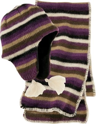 Ski 70/30 wool knit/alpaca blend with wonderfully colored stripes. Set includes Peruvian-style fleece-lined hat and 64 scarf. One size fits most. Imported. Color: Boysenberry. - $24.88