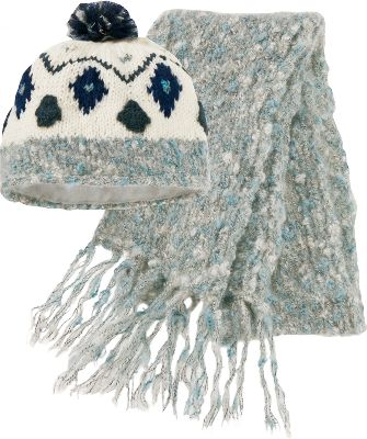 "Ski 50/50 wool/acrylic blend using textured boucl yarn. Fleece-lined beanie has decorative pom on top. 64"" scarf with fringed ends. One size fits most. Imported. Color: Deep Sea. - $19.88"