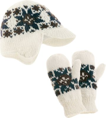 Ski 50/50 wool/acrylic formed into a stunning knit cap with earflaps and visor. Set includes fleece-lined hat and mittens with snowflake design. One size fits most. Imported. Colors: Deep Sea, White Sand. - $16.88