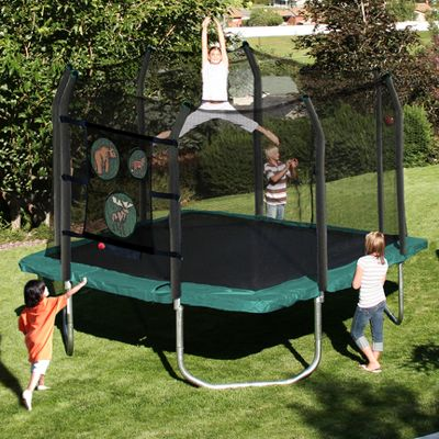 Camp and Hike Energize your backyard with this safe, fun trampoline enclosure and beanbag toss game. The patented, enclosure net design eliminates gaps between the jump mat and enclosure net to protect children from landing on springs. The entire enclosure frame is padded with soft foam, adding an extra measure of safety. T-sockets at each enclosure joint eliminate frame twisting. 72 galvanized springs are completely rust-resistant, and the extra-thick spring pad is UV-resistant for long-lasting durability. The beanbag toss game includes colorful beanbags depicting pictures of moose, bears and foxes, and the entire UV-resistant system breaks down for convenient storage. The trampoline has a one-year limited warranty on frame; 90-day limited warranty on materials. Imported. Trampoline assembled dimensions: 11 ft. x 11 ft. x 9-1/2 ft. Trampoline weight capacity: 200 lbs. - $599.99