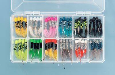 Fishing Still one of the most productive lures ever developed, Slater's jigs are hand-crafted with colorful chenille bodies, full kip tails, Duo-Flasher streamers and epoxy-painted jigheads. Kit includes: 48 jigs in 12 fish-catching colors. Also includes a Plano box to keep jigs organized. Sizes: 1/8 oz., 1/16 oz., 1/32 oz. - $29.88