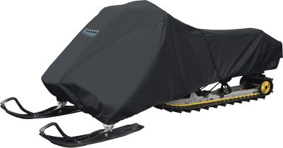 "Snowmobile Constructed of 300 denier polyester with PVC backing, these rugged covers provide superior protection for your snowmobile whether you're storing it for the summer or trailering it to your favorite trails. A sewn-in shock cord in the hem and an over-cover tie-down keep it snugged securely when trailering. All come with a convenient stuff sack. Sizes:Medium size fits snowmobiles up 100"" Large size fits snowmobiles from 101""-118""X-Large size fits snowmobiles from 119""-127"" - $84.99"