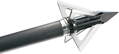Hunting Aerodynamics, accuracy and penetration come together in a fixed-blade broadhead that mirrors the flight of field points. The patented Alcatraz Bladelock system securely interlocks the blades inside the ferrule. This setup ensures the four razor-sharp Lutz Solingen German stainless steel blades fly straight and true to punch lethal wounds through flesh and bone. The 100 steel construction maximizes durability afforded by the .035 blade thickness. 1-1/8 cutting diameter. Per 3. Available: 100 grain, 125 grain. Color: Stainless. Type: Fixed Blades. - $27.99