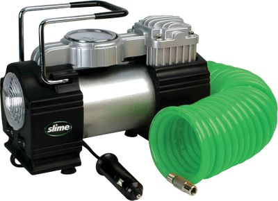 Motorsports Inflate standard car tires in three minutes with this extremely powerful 12-volt, 150-psi compressor that plugs into any 12-volt power outlet. 16-ft. hose with quick-release coupler. Easy-to-read gauge for precise inflation. Ultrabright LED for night operation. Includes canvas storage bag, and adapters to inflate balls and rafts. Weight: 5.34 lbs. Dimensions: 7 L x 13 W x 9-1/4 H. Gender: Male. Age Group: Adult. - $48.88