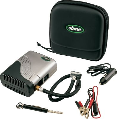 Motorsports Be ready to pump up any low tire on your ATV with this compact, 300-psi air compressor. 4-3/4 height is small enough to carry in your ATV bag or tool box and have plenty of room left over. Includes permanent battery leads with quick-connect plug, alligator clips and power port adapter to hook into any 12-volt power source. An 8 power cord lets you easily reach your tires. The modular kit stores easily in its own water- and shock-resistant case. Tire-pressure gauge included. Type: Air Compressors & Acc.. - $29.99