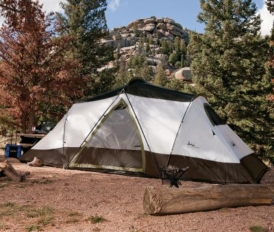 "Camp and Hike More than 6-ft. tall and extra-wide, this three-season tent has a floor area of 148 sq. ft. to sleep a maximum of eight people. Walls and fly are made of durable polyester, and the moisture-blocking floor is made of polyethylene. Tent-to-fly buckle connection, storage pockets and a noiseless zipper. All waterproof seams are taped. Includes seven steel/fiberglass poles and two room dividers. Imported.Sleeping capacity: 8.Center height: 6'8.Floor size: 7'10 x 18'8.Weight: 25 lbs. 10 oz. Type: Dome Tents. Sleeping Capacity: 8 Person. Floor Size: 7'10"" x 18'8"". Tent Style 8-Person. - $199.88"