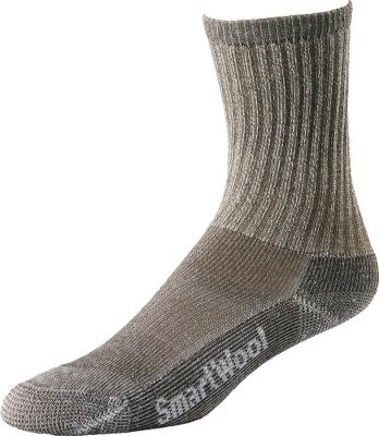 Camp and Hike These incredibly durable, all-season SmartWool Mens Hiking Light Crew Socks are ideal for a wide range of walking conditions. WOW Technology adds an extra layer of 100% SmartWool Duroyarn to high-impact zones for more durability. 69% Merino Wool, 30% Nylon, 1% Elastane blend provides itch-free comfort. Since they have less nylon, these socks also move moisture away from the skin rapidly and control odor more effectively. Arch braces hold socks securely in place. Flat-knit toe seams for long-term comfort. Machine washable. Performance socks born in Colorado, Made in America, using the finest merino from around the world. Ht: 7. Mens sizes: L(9 to 11.5), XL(12 to 14.5). Colors: Grey, Taupe. Size: L. Color: Gray. Gender: Male. Age Group: Adult. Material: Nylon. Type: Socks. - $17.99