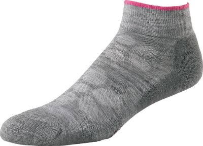 Youll be amazed how a pair of quality sport socks can enhance the performance of your footwear. The SmartWool Fit System incorporates added support for your arches and ankles. Reinforced heels and toes deliver the durability needed for seasons of use. Light, half cushioning and flat-knit toe seams provide the extra bit of comfort you need. Moisture wicking, quick drying and soft, SmartWool fabric is made of 68% merino wool, 30% nylon and 2% elastane. 1x1 double-ribbed cuffs. Made in USA.Womens sizes: M(6 to 8-1/2), L(9 to 12). Color: Light Gray. - $16.99