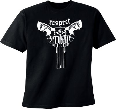 Twin .44 Smith Wesson revolvers command respect. So does this tee. Preshrunk cotton jersey. Machine washable. Imported. Sizes: M-2XL. Color: Black. Size: 2 X-Large. Color: Black. Gender: Male. Age Group: Adult. Material: Cotton. Type: Short-Sleeve Tee Shirts. - $9.99
