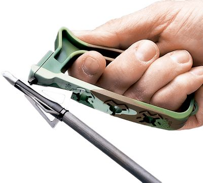 Hunting Two tungsten-carbide cutting heads with pre-set angles give any broadhead the perfect cutting edge. Built-in wrench makes it safe and easy to change any three-, four- and five-bladed broadheads. Also sharpens knives. Type: Broadhead Sharpeners. - $4.88