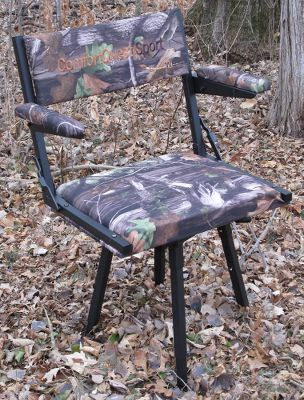 Hunting Comfortable and lightweight, this packable swivel armchair features a durable black, powder-coated aluminum frame with a 600-denier polyester seat. The padded seat, back and arms are all water-resistant, and the ball-bearing swivel seat moves silently and accommodates bulky hunting clothing and larger hunters with its comfy 16x22 size. The chair legs adjust from 13 to 18, and easily stow in the chair back when not in use. Includes turf feet for easier use in softer terrain. Fits compactly into its included carry bag for easy transport. Chair weight: 16 lbs. Weight capacity: 300 lbs. Camo pattern: Next Camo G1. Color: Black. - $134.99