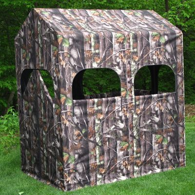 Hunting With a 66 ceiling, the ComfortQuest blind is tall enought to stand up in. It is also wide enough to accommodate more than one hunter. Sturdy, lightweight aluminum frame is encased with a heavy-duty, flame-retardant 600-denier polyester fabric. With double-stitched seams and YKK zippers. Its versatility allows you to install it on any 4-foot x 6-foot platform or attach it to the ComfortQuest Ground Blind Kit (not included). The friction-fit nylon connectors allow you to snap the frame pieces together, then cover the frame with the fabric blind and be ready within minutes to sit down and enjoy your sport. Includes heavy-duty carry bag that makes it easy for one hunter to transport it out to a field location. Optional window cover kits are available that provide air circulation, insect barrier, added concealment and protection from wind, rain and cold temperatures (not included). Dimensions: 6L x 4W x 66H. Weight: 39 lbs. Camo pattern: Next Camo G-1. Color: Camo. - $449.99