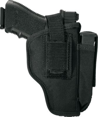 Rugged, compact and lightweight, these holsters feature a built-in magazine pouch (semiautomatic versions only). Engineered to be worn on the belt right or left handed. A molded thumb break secures your firearm until its needed. Includes removable spring clip for waistband application. Made in USA. Type: Holsters. - $10.88