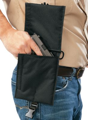 "Carry a pistol inconspicuously on a belt, fanny pack, day pack or a binocular harness. Sturdy Cordura nylon construction defends your firearm from weather, dirt, dust and debris. A built-in belt loop fits belts up to 2"". Two D-rings permit attachment to packs and harnesses. Two hook-and-loop closure compartments include one for a gun, and a hidden pocket inside a protective flap with a Delrin quick- release buckle for extra magazines or documents. Recommended for use with small- to medium-frame handguns. Harness not included. Made in USA. - $19.88"