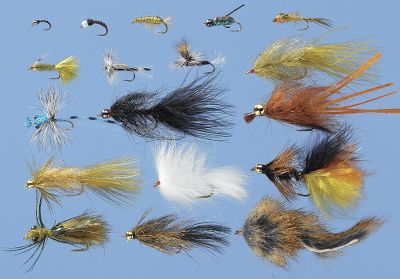Flyfishing A 36-piece set to tempt trout through the water column in Western lakes. Two each of:Super Fly (size 14)Twin Lake Special (8)Bead Hale Bopp Leech, Black (8)BH Mini Leech, Olive (8)Soft Tex Scud, Olive (14) Chironocones, Motor Oil (14)Damsel, Blue Adult (12)Morris Walker Boatman (14)Sparkle Furry Dragon (6)Chironomid Cripple (14)Chironomid Adult (14)Damsel Nymph, Red Eye (14)Stalcup's Crazy Dad, Orange (8)BH Zebra Midge, Silver Black (20)Bunny Leech, White (8)BD HD Mini Leech, Black (8)Sculpin, Mini (10)Hale Bopp Leech, Olive (8)Available: Assortment Only, Assortment with Box. - $43.99