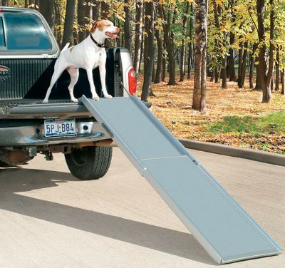Hunting If your large-sized dog has trouble getting down out of the back of your truck, turn to the Extra-Large Telescoping Pet Ramp for the easiest exit possible. Built to accommodate weights up to 300 lbs., this sturdy ramp telescopes out to over 7 ft. This extended length helps reduce the incline for your pets safety and comfort. Retracts to less than 4 ft. for easy back-of-the-truck storage. Four rubber feet for rock-solid placement. High-traction surface delivers sure footing. Strong aluminum and plastic construction. Dimensions: 47-87L x 20W x 4D. Weight: 18 lbs. - $134.99