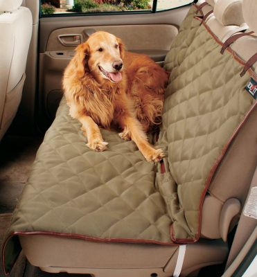 Hunting Enjoy taking your pet along for the ride when you have a Deluxe Pet Seat Cover protecting your upholstery from fur, dirt and stains. Machine washable and treated with Stain-Blok, the quilted, padded microsuede-top fabric gives your four-legged friend a luxuriously soft, warm and comfortable riding space. The exceptional one-size-fits-most design and straps keep it firmly in place during longer travels. Made of 100% cotton. Machine washable. One-year warranty. Imported. Available: Bench Seat Cover Faux-leather trim, adjustable straps, antique-brass hardware and two Sta-Put devices. Dimensions: 56L x 47W. Weight: 3 lbs. Cargo Liner Hook-and-loop fasteners. Faux-leather trim. Dimensions: 52L x 50W. Weight: 2 lbs. Hammock Seat Cover Faux-leather trim, adjustable straps, two storage pockets and two Sta-Put devices. Dimensions: 57L x 56W. Weight: 2.5 lbs. - $49.99