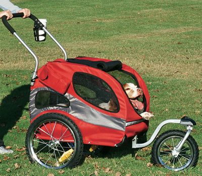 Entertainment Ideal for places where you cant ride your bike, this kit converts your HoundAbout Pet bicycle trailer into a stroller. Kit includes handlebar, swiveling front wheel, parking brake and cup holder. Available: Medium, Large. - $69.99