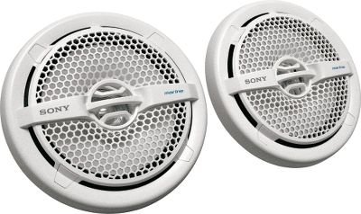 Entertainment Enjoy exceptional sound quality in your boat with speakers that carry on Sonys tradition of quality components. This pair of 6-1/2 dual-cone speakers puts out up to 145 watts (65 watts RMS) to offer excellent high-power output. Frequency response range of 40Hz to 20Hz teams with 90db efficiency and a strontium magnet to deliver optimal sound clarity. Water-resistant, UV-resistant and tested to meet ASTM G154 standards, theyre an ideal choice for watercraft sound systems. Mounting diameter is 5 with a seating depth of 2-1/8. Insulated tinsel leads. Per pair. Colors: Black, White. Color: White. - $59.99