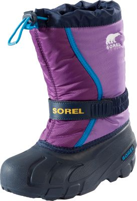 Snowflakes can create a flurry of activity among kids who are more than eager to get out in the powdery white stuff. The Flurry boots from Sorel are ideal for warding off the elements. Water- and wind-resistant nylon uppers. Drawstrings with barrel-lock closures seal in warmth and help prevent snow and moisture from entering the tops of the boots. Hook-and-loop with elastic instep straps make for a custom fit. Removable, washable 6mm felt inner boots. Injection-molded thermal rubber shells. Traction-enhancing multidirectional thermal rubber lug outsoles. Imported.Order next size up if wearing with heavy socks.Kids sizes. - $29.99