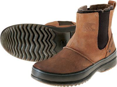 Legendary Sorel comfort and protection with a stylish, urban design. Waterproof, stretch-fit leather uppers keep moisture out, while polyester felt linings ensure warmth and comfort. Tough rubber sidewalls offer increased protection on wet days. Molded rubber outsoles with a herringbone design provide plenty of traction to trudge through the nastiest slush and snow. Imported. Height: 6.75.Average weight: 2.6 lbs./pair.Mens whole sizes: 8-14. Color: Chipmunk. - $59.99