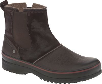 Legendary Sorel comfort and protection with a stylish, urban design. Waterproof, stretch-fit leather uppers keep moisture out, while polyester felt linings ensure warmth and comfort. Tough rubber sidewalls offer increased protection on wet days. Molded-rubber outsoles with herringbone design provide plenty of traction to trudge through the nastiest slush and snow. Imported.Height: 6.75. Average weight:2.6 lbs./pair. Mens sizes: 7-15 D width. Half sizes to 12.Color: Dark Brown. - $59.99