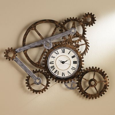 Give your home an industrial look with these rugged, oversized sprockets crafted into a work of art. This hand-painted clock is constructed of metal. Requires one AA battery (not included).Dimensions: 33.25H x 40.5W x 3D. Type: Clocks. - $99.99