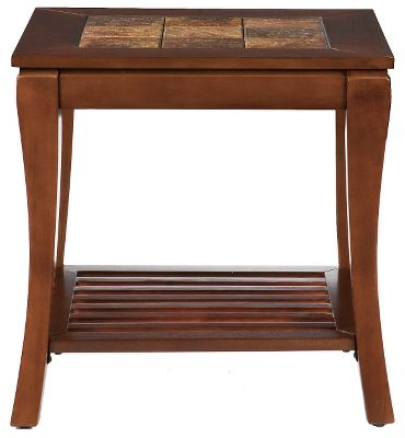 Entertainment Complement your living room arrangement with this attractive cherry-finished end table accented with the natural earth tones of the faux-slate tile top. The stone-textured top adds a rustic feel. The slat shelf is as functional as it is appealing. Crafted of medium-density fiberboard and hardwood with a poly-resin brown cherry finish. Pair with the Cambria Slate Cocktail Table and Cambria Slate Console Table for a complete set.Dimensions: 24H x 24W x 22D. - $199.99