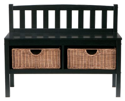 Entertainment Add contemporary storage at the end of the bed, in an entryway or in the living room with this simple, convenient Black Bench that wont take up too much space. Comes with two 7H x 15W x 12D rattan baskets for stashing clothing or clearing up clutter. Crafted of medium-density fiberboard with hardwood legs. 28.5H x 36W x 14.25D. Basket wt. capacity: 10 lbs. Bench wt. capacity: 300 lbs. Color: Black. - $179.99