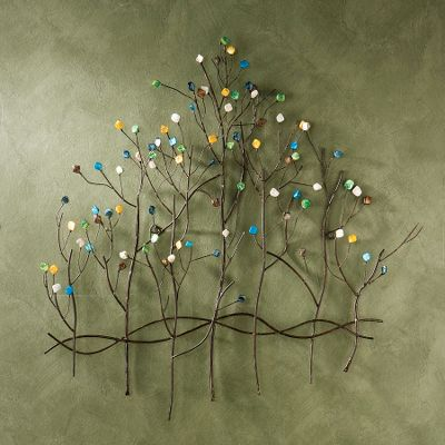 Add some contemporary, eye-catching color to your home with this 3-D wall sculpture. Crafted of metal with a bronze finish and assorted gems, this Gemstone Forest Wall Art is sure to be the focal point of any room. Dimensions: 32H x 32.5W x 2.75D. Color: Assorted. - $59.99