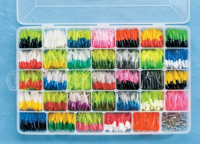 Fishing Heres our largest assortment of crappie jigs and tubes designed to match any fishing condition on the water. Kit contains 30, 1/48 oz. - 1/32 oz. jigheads, 990 1-1/2 Lil Hustler crappie tubes in a large variety of colors, and an 18-compartment 360-sized utility box that fits in most tackle systems or a storage bin in your boat. - $31.49