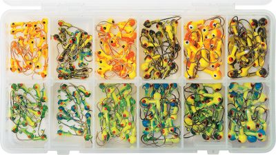 Fishing A great assortment perfect for panfish and walleye. The chartreuse-based color scheme adds accent colors that drive the fish crazy. Each size, 1/32 oz., 1/16 oz. and 1/8 oz., contains a four-color assortment of 68 painted hot heads on Eagle Claws gold-plated hooks. Type: Jig Kits. - $26.88