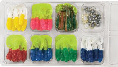 Fishing 10 each of the 2 Triple-Tip Grubs in the seven hottest colors. Unique three-section tail triggers strikes. Handy utility box. Kit contains: 70 grubs and 10 jigheads. Size: ASSORTED. - $5.88