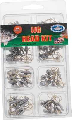 Fishing An 81-piece collection that includes some of Southern Pros most popular jigheads and has a size and style for use in any jigging situation. It includes 10 each of Round Head jigs in 1/32-, 1/16- and 1/8-oz. sizes, along with 10 each of Minnow Head jigs in 1/48-, 1/32- and 1/16-oz. sizes. You also receive 10 each of the Fast Load jigs in 1/32- and 1/16-oz. sizes. Size: ASSORTED. - $8.88
