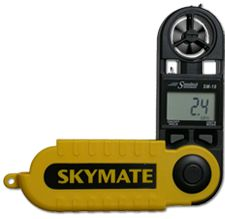 A compact, handheld weather instrument that measures current, maximum and average wind speed, along with temperature and wind chill. It comes with a water-resistant floating case. Folding design protects when not in use. Threaded for tripod mounting. Runs on 400-hour lithium battery (included). - $89.99