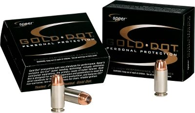 Guns and Military Speer Gold Dot ammunition continues to dominate the law enforcement market. Its the first high-performance handgun ammunition to be loaded with true, bonded-core bullets. Speer Gold Dot uses an exclusive Uni-Cor process where they bond the jacket to the core one molecule at a time. This virtually eliminates core-jacket separation, the leading cause of handgun bullet failures. Only the highest quality, nickel-plated brass cases are used for smooth feeding and corrosion-resistance. Famous CCI primers and low-flash propellants are used for the best ballistic performance. Made in USA. Per 20. Color: Gold. - $19.99
